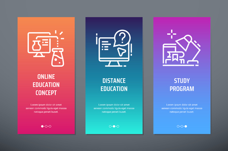 Online education concept, Distance education, Study program Vertical Cards with strong metaphors.