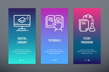 Digital library, Tutorials, Study program Vertical Cards with strong metaphors.