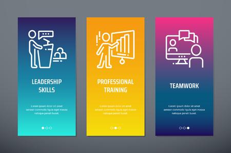 Leadership skills, Professional training, Teamwork Vertical Cards with strong metaphors. Illustration