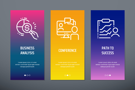 Business analysis, Conference, Path to success Vertical Cards with strong metaphors.