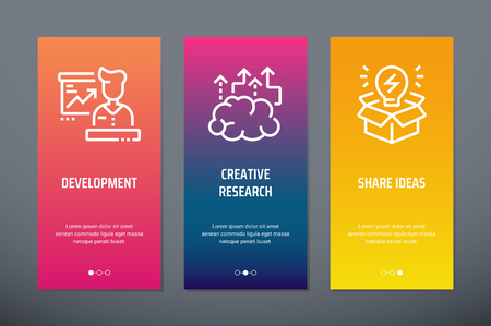 Development, Creative research, Share ideas Vertical Cards with strong metaphors.