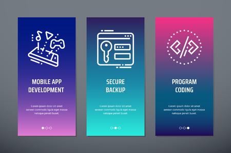 Mobile app development, Secure backup, Program coding Vertical Cards with strong metaphors. Illustration