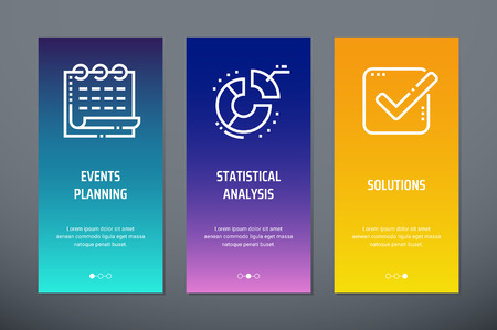 Events planning, Statistical analysis, Solutions Vertical Cards with strong metaphors.