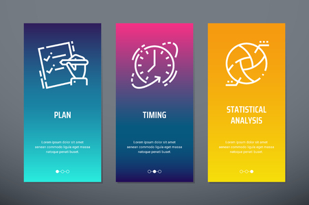 Plan, Timing, Statistical analysis Vertical Cards with strong metaphors. Stock Illustratie
