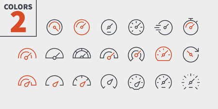 Speedometer UI Pixel Perfect Well-crafted Vector Thin Line Icons 48x48 Ready for 24x24 Grid for Web Graphics and Apps with Editable Stroke. Simple Minimal Pictogram Part 1-1 Banque d'images - 104457320