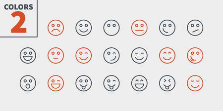 Emotions UI Pixel Perfect Well-crafted Vector Thin Line Icons 48x48 Ready for 24x24 Grid for Web Graphics and Apps with Editable Stroke. Simple Minimal Pictogram Part 1-5 Stock Vector - 115009892