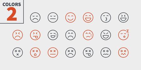 Emotions UI Pixel Perfect bien conçu icônes vectorielles de fine ligne 48 x 48 prêt pour la grille 24 x 24 pour les graphiques Web et les applications avec un trait modifiable. Pictogramme minimal simple partie 2-5 Vecteurs