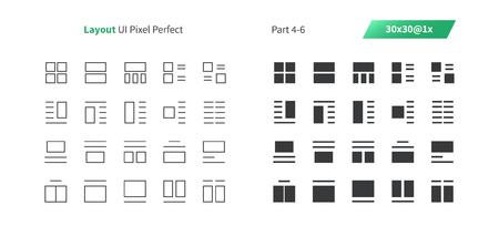 Layout UI Pixel Perfect Well-crafted Vector Thin Line And Solid Icons 30 1x Grid for Web Graphics and Apps. Simple Minimal Pictogram Part 4-6
