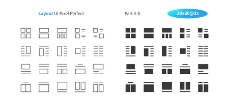 Layout UI Pixel Perfect Well-crafted Vector Thin Line And Solid Icons 30 2x Grid for Web Graphics and Apps. Simple Minimal Pictogram Part 4-6