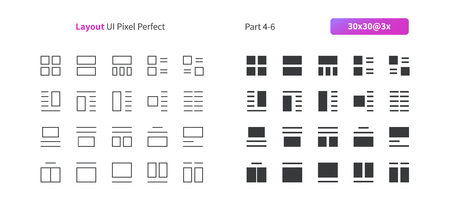 Layout UI Pixel Perfect Well-crafted Vector Thin Line And Solid Icons 30 3x Grid for Web Graphics and Apps. Simple Minimal Pictogram Part 4-6