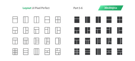 Layout UI Pixel Perfect Well-crafted Vector Thin Line And Solid Icons 30 1x Grid for Web Graphics and Apps. Simple Minimal Pictogram Part 5-6 Illustration