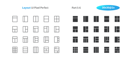 Layout UI Pixel Perfect Well-crafted Vector Thin Line And Solid Icons 30 2x Grid for Web Graphics and Apps. Simple Minimal Pictogram Part 5-6 Foto de archivo - 105953187