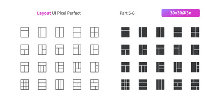 Layout UI Pixel Perfect Well-crafted Vector Thin Line And Solid Icons 30 3x Grid for Web Graphics and Apps. Simple Minimal Pictogram Part 5-6 Illustration