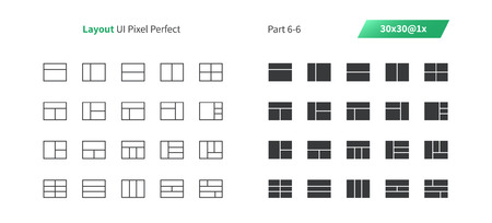 Layout UI Pixel Perfect Well-crafted Vector Thin Line And Solid Icons 30 1x Grid for Web Graphics and Apps. Simple Minimal Pictogram Part 6-6 Illustration