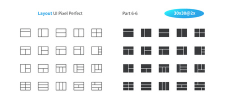 Layout UI Pixel Perfect Well-crafted Vector Thin Line And Solid Icons 30 2x Grid for Web Graphics and Apps. Simple Minimal Pictogram Part 6-6