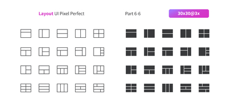 Layout UI Pixel Perfect Well-crafted Vector Thin Line And Solid Icons 30 3x Grid for Web Graphics and Apps. Simple Minimal Pictogram Part 6-6 Illustration