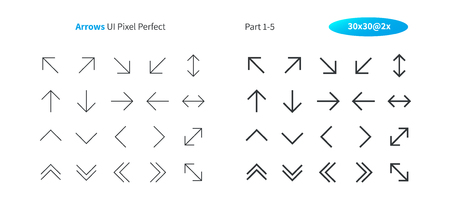 Arrows UI Pixel Perfect Well-crafted Vector Thin Line And Solid Icons 30 2x Grid for Web Graphics and Apps. Simple Minimal Pictogram Part 1-5 Stock Illustratie