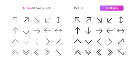 Arrows UI Pixel Perfect Well-crafted Vector Thin Line And Solid Icons 30 3x Grid for Web Graphics and Apps. Simple Minimal Pictogram Part 1-5 Stock Illustratie