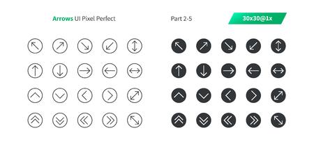 Flechas UI Pixel Perfect Vector bien elaborado Iconos sólidos y de líneas finas 30 1x Cuadrícula para gráficos y aplicaciones web Pictograma mínimo simple, parte 2-5