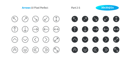 Arrows UI Pixel Perfect Well-crafted Vector Thin Line And Solid Icons 30 2x Grid for Web Graphics and Apps. Simple Minimal Pictogram Part 2-5 스톡 콘텐츠 - 105600942