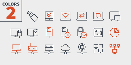 Network UI Pixel Perfect Well-crafted Vector Thin Line Icons 48x48 Ready for 24x24 Grid with Editable Stroke. Part 3-5 Иллюстрация