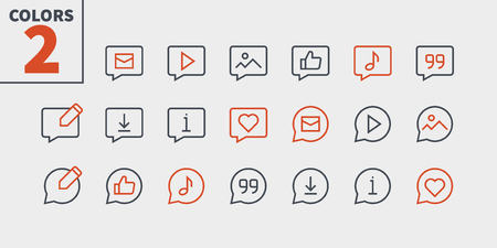 Messages UI Pixel Perfect Well-crafted Vector Thin Line Icons 48x48 Ready for 24x24 Grid with Editable Stroke. Simple Minimal Pictogram Part 5-5 Ilustração