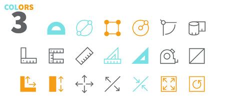 Messen Sie Pixel Perfect Gut gestaltete Vektor-Thin-Line-Symbole 48x48 Bereit für 24x24-Raster für Webgrafiken und Apps mit bearbeitbarem Strich. Einfaches minimales Piktogramm Teil 1