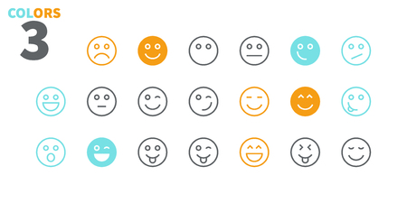 Emotions UI Pixel Perfect Well-crafted Vector Thin Line Icons 48x48 Ready for 24x24 Grid for Web Graphics and Apps with Editable Stroke. Simple Minimal Pictogram Part 1-5 Stock Photo
