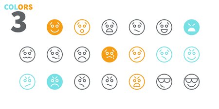 Emotions UI Pixel Perfect Well-crafted Vector Thin Line Icons 48x48 Ready for 24x24 Grid for Web Graphics and Apps with Editable Stroke. Simple Minimal Pictogram Part 3-5