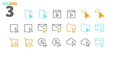 Selección y cursores UI Pixel Perfect Iconos de líneas finas vectoriales bien diseñados 48x48 Listo para cuadrícula 24x24 para gráficos web y aplicaciones con trazo editable. Pictograma mínimo simple Parte 3-3