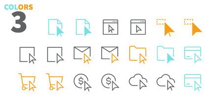 Wybór i kursory UI Pixel Perfect Dobrze wykonane wektorowe ikony z cienką linią 48x48 Gotowe na siatkę 24x24 dla grafik internetowych i aplikacji z edytowalnym obrysem. Prosty, minimalistyczny piktogram, część 3-3