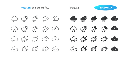 Weather UI Pixel Perfect Well-crafted Vector Thin Line And Solid Icons 30 2x Grid for Web Graphics and Apps. Simple Minimal Pictogram Part 3-3 Çizim