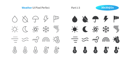 Weather UI Pixel Perfect Well-crafted Vector Thin Line And Solid Icons 30 2x Grid for Web Graphics and Apps. Simple Minimal Pictogram Part 1-3