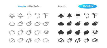 Weather UI Pixel Perfect Well-crafted Vector Thin Line And Solid Icons 30 2x Grid for Web Graphics and Apps. Simple Minimal Pictogram Part 2-3