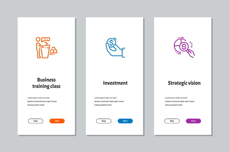 Business training class, Investment, Strategic vision onboarding screens with strong metaphors