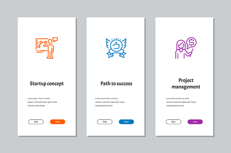 Startup concept, Path to success, Project management onboarding screens with strong metaphors