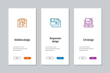 Website design, Responsive design, UX design onboarding screens Illustration