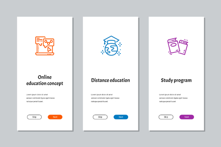 Online education concept, Distance education, Study program onboarding screens with strong metaphors Illustration
