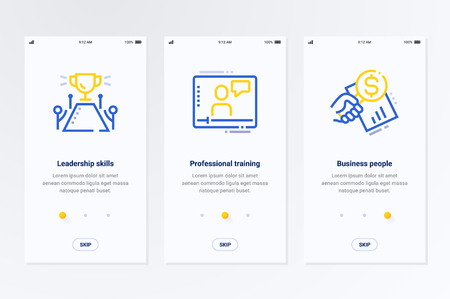 Leadership skills, Professional training, Business people Vertical Cards with strong metaphors. Template for website design.