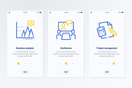 Business analysis, Conference, Project management Vertical Cards with strong metaphors. Template for website design.