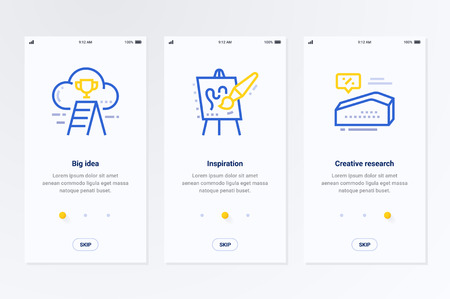 Big idea, Inspiration, Creative research Vertical Cards with strong metaphors. Template for website design.