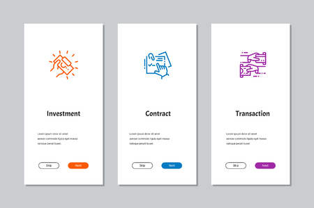 Investment, Contract, Transaction onboarding screens with strong metaphors