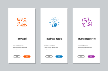Teamwork, Business People, Human Resources onboarding screens with strong metaphors Illustration