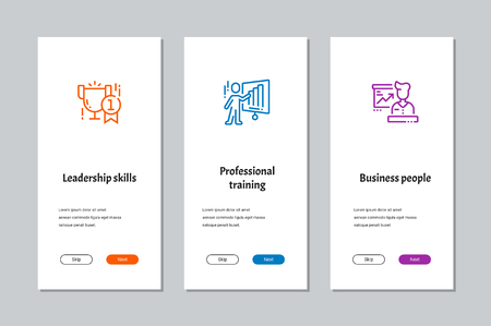 Leadership skills, Professional training, Business people onboarding screens with strong metaphors Illustration