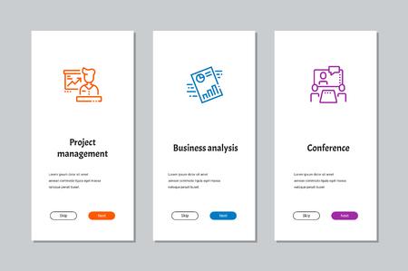 Gestione del progetto, analisi aziendale, schermate di onboarding di conferenze con metafore forti