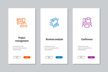 Project management, Business analysis, Conference onboarding screens with strong metaphors