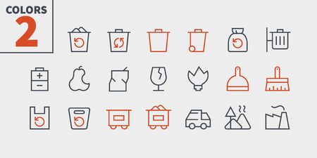 Garbage Outlined Pixel Perfect Well-crafted Vector Thin Line Icons 48x48 Ready for 24x24 Grid for Web Graphics and Apps with Editable Stroke. Simple Minimal Pictogram Part 1-1 Illustration