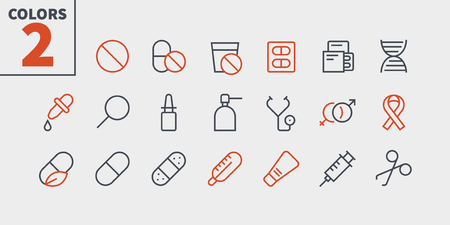 Medical UI Pixel Perfect Well-crafted Vector Thin Line Icons 48x48 Ready for 24x24 Grid for Web Graphics and Apps with Editable Stroke. Simple Minimal Pictogram Part 1-3 Illustration