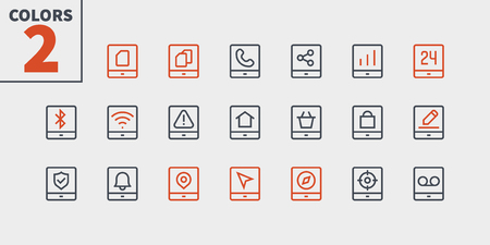 Tablet UI Pixel Perfect Well-crafted Vector Thin Line Icons 48x48 Ready for 24x24 Grid for Web Graphics and Apps with Editable Stroke. Simple Minimal Pictogram Part 3-3 Illustration