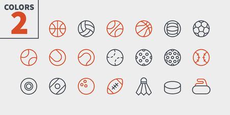 Sportbälle UI Pixel Perfekt Gut gestaltete Vektor-Thin-Line-Symbole 48x48 Bereit für 24x24-Raster für Webgrafiken und Apps mit bearbeitbarem Strich. Einfaches minimales Piktogramm Teil 1-1